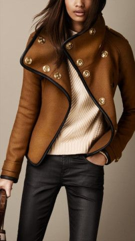 Burberry Leather trim wrap jacket